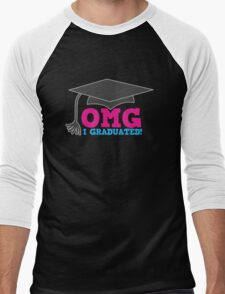 OMG I graduated with mortar board graduation hat pink Men's Baseball ¾ T-Shirt