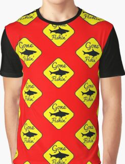 Gone Fishing yellow sign with a shark Graphic T-Shirt
