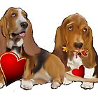 Basset Hounds and Hearts by IowaArtist