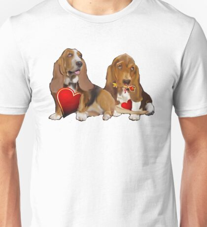 Basset Hounds and Hearts Unisex T-Shirt