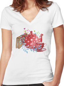 Tea  Women's Fitted V-Neck T-Shirt