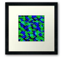 BRICK WALL SMUDGED (Blues & Greens)-(9000 x 9000 px) Framed Print