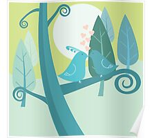 Lovebirds Cute Nature Illustration Poster
