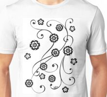 Black and White Flowing Flowers Unisex T-Shirt