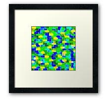 BRICK WALL SMUDGED (Blues, Greens & Yellows)-(9000 x 9000 px) Framed Print