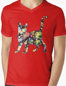 FLOWER  CAT Mens V-Neck T-Shirt
