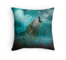 I'll See You In My Dreams (Wolf Howl) Throw Pillow