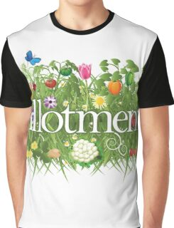 Allotment banner with grass, flowers and vegetables Graphic T-Shirt