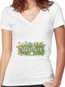 Allotment banner with grass, flowers and vegetables Women's Fitted V-Neck T-Shirt