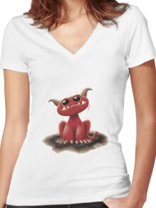 Cute red monster Women's Fitted V-Neck T-Shirt