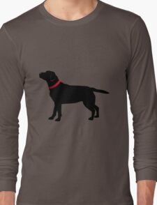 Black Labrador with Red Collar Long Sleeve T-Shirt
