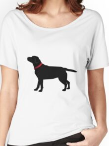 Black Labrador with Red Collar Women's Relaxed Fit T-Shirt