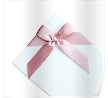 White Gift Box With Pink Bow Poster