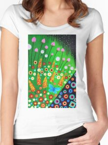 Blue Butterfly in Abstract Meadow Women's Fitted Scoop T-Shirt