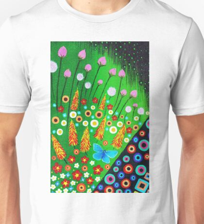 Blue Butterfly in Abstract Meadow Unisex T-Shirt