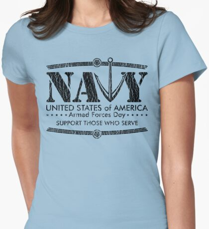 Armed Forces Day - Navy Black Womens Fitted T-Shirt
