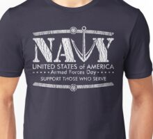 Armed Forces Day - Navy White Unisex T-Shirt