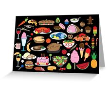 Food Glorious Food (black) Greeting Card