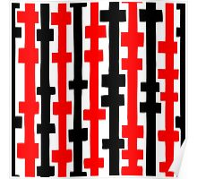 Abstract Columns - Red and Black Poster