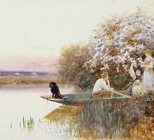Picking Blossoms by Bridgeman Art Library