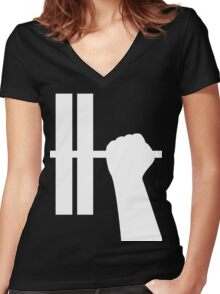 WORKOUT BAR SHIRT-WHITE Women's Fitted V-Neck T-Shirt