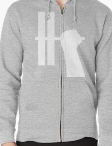 WORKOUT BAR SHIRT-WHITE Zipped Hoodie