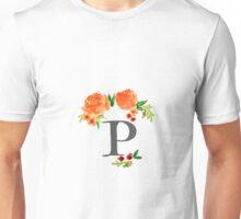Floral Watercolor Monogram P Unisex T-Shirt
