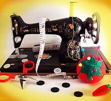Vintage Mini Sewing Machine by SRowe Art
