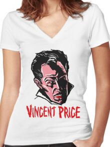 VINCENT PRICE Women's Fitted V-Neck T-Shirt