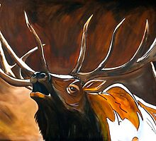 "Bugling Elk Art ""Chuckles"" by Eric Houghland"