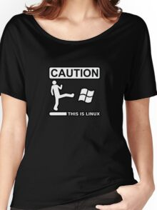 caution this is sparta linux Women's Relaxed Fit T-Shirt