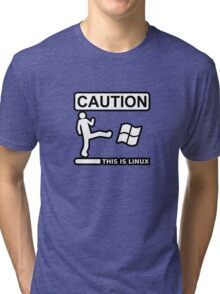 caution this is sparta linux Tri-blend T-Shirt