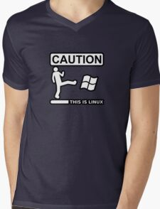 caution this is sparta linux Mens V-Neck T-Shirt