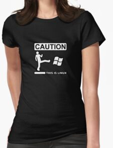 caution this is sparta linux Womens Fitted T-Shirt