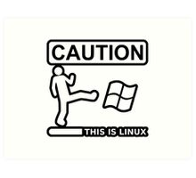 caution this is sparta linux Art Print