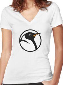 linux penguin circle logo Women's Fitted V-Neck T-Shirt