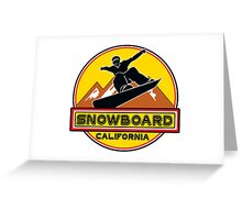 SNOWBOARD CALIFORNIA Skiing Ski Mountain Mountains Snowboarding LAKE TAHOE BIG BEAR SQUAW VALLEY TRUCKEE NORTHSTAR Greeting Card