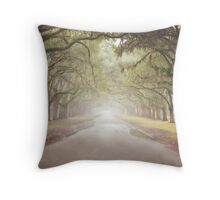 Live Oak Southern Canopy Tree Lined Driveway Green Brown Throw Pillow