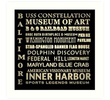 Baltimore Maryland Famous Landmarks Art Print
