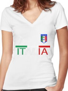 Euro 2016 Football - Italy Women's Fitted V-Neck T-Shirt