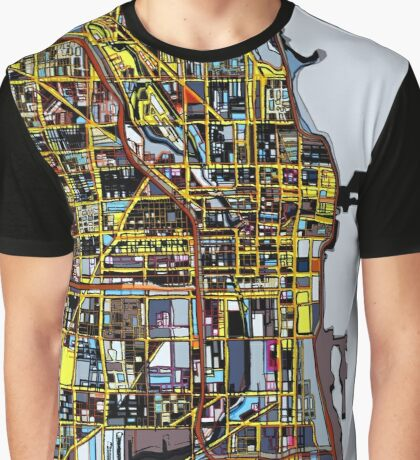 Abstract Map of Chicago IL Graphic T-Shirt