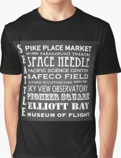 Seattle Famous Landmarks Graphic T-Shirt