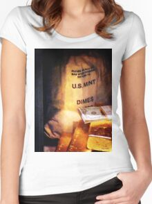 Dimes Dollars and Gold Women's Fitted Scoop T-Shirt