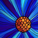Soul Kiss 1 - Blue Flower Abstract Art Print by Sharon Cummings