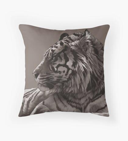 stripey sepia Throw Pillow