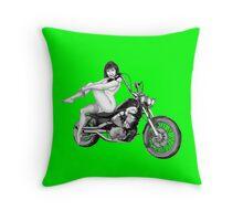 Woman Biker Green Pillow Throw Pillow