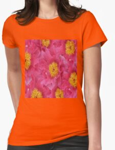 Peony flower oil painting Womens Fitted T-Shirt