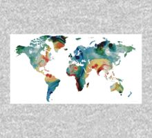Map of The World 11 -Colorful Abstract Art One Piece - Long Sleeve