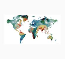 Map of The World 11 -Colorful Abstract Art One Piece - Short Sleeve