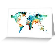 Map of The World 11 -Colorful Abstract Art Greeting Card